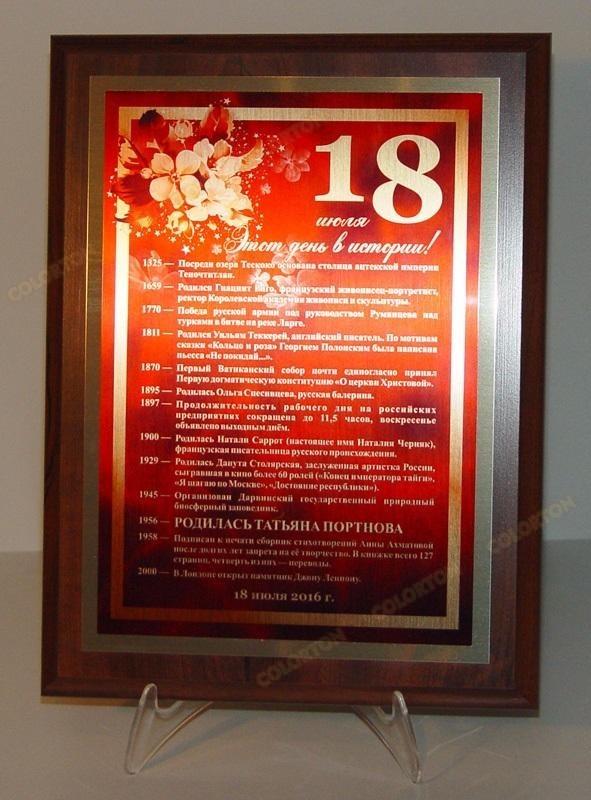 Уникальные плакетки юбиляру «Один день в истории»