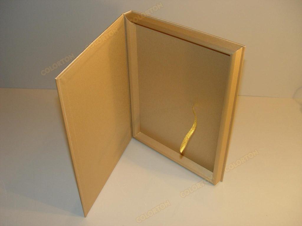 Изображение стандартной коробки золотистой раскрытой