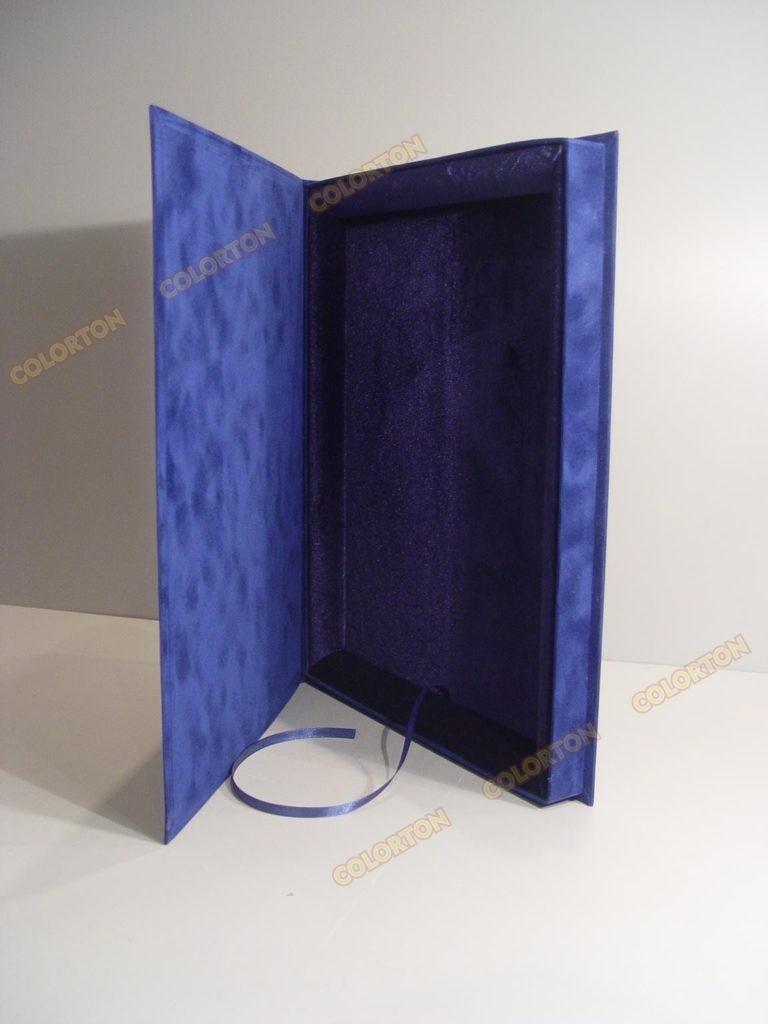Изображение подарочной коробки 228х305мм синей стоящей