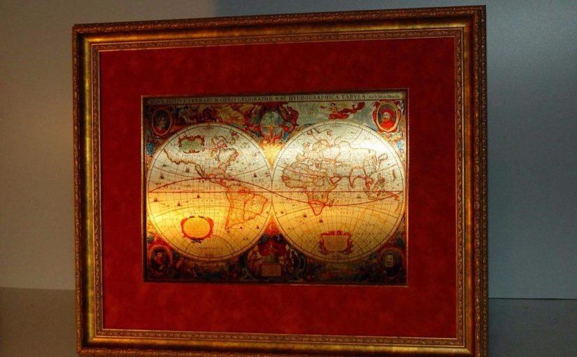 Старинная металлическая карта мира на стену 50х60 см