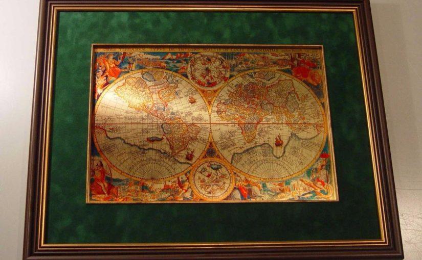 Старинная карта мира на металле в подарок на юбилей 50х60 см