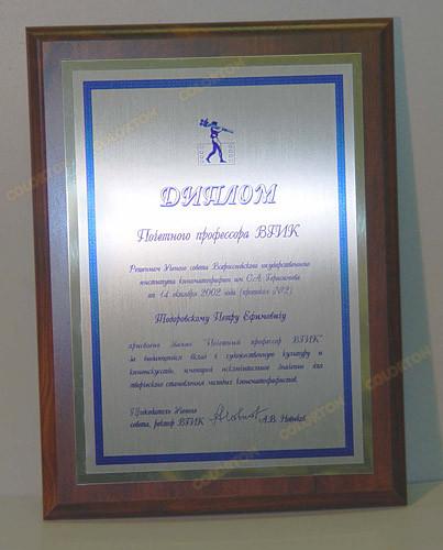 Диплом почетного профессора ВГИК Тодоровскому