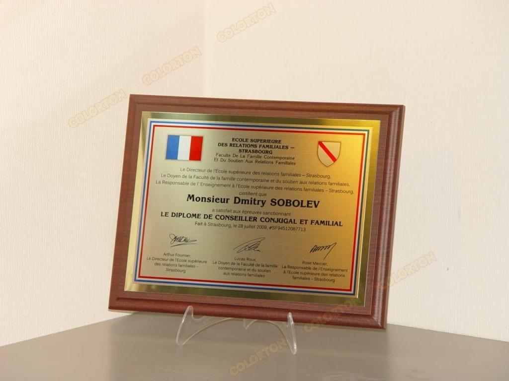 Образец диплома Дмитрию Соболеву на французском