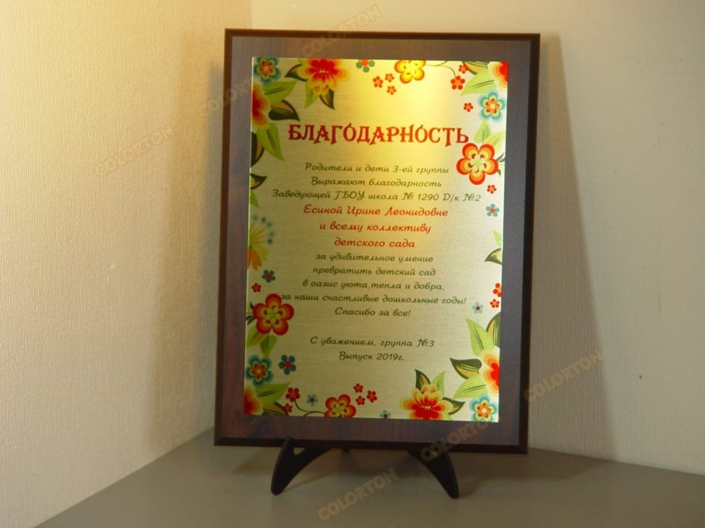 Фото плакетки благодарности заведующей детского сада