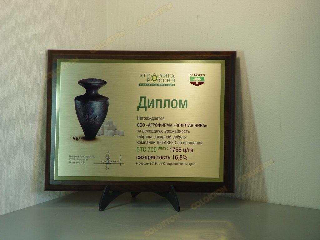 Фото №2 диплома бизнес-партнёру за высокие показатели продукции